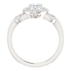 Cubic Zirconia Engagement Ring- The Karli Grace (Customizable Oval Cut Design with Halo and Interlocking Links Accented Split Band)