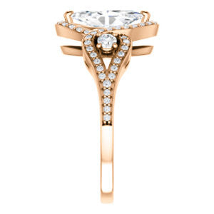 Cubic Zirconia Engagement Ring- The Sofía Anna (Customizable Marquise Cut Design with Dual Round Accents, Twisted Halo and Pavé Split Band)