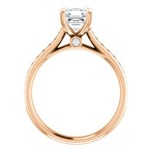 Cubic Zirconia Engagement Ring- The Tabitha (Customizable Asscher Center with Round Channel)