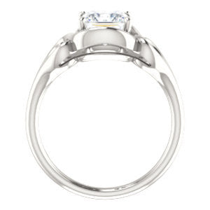 Cubic Zirconia Engagement Ring- The Bentley (Customizable Princess Cut Solitaire with Wide Tapered Band and Side Engraving Motif)