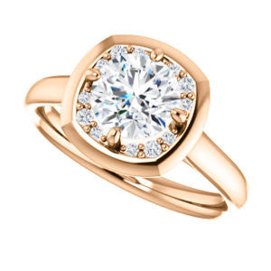 Cubic Zirconia Engagement Ring- The Kajal (Round  Cut Tapered Faux Bezel Halo)
