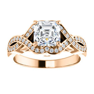 Cubic Zirconia Engagement Ring- The Bannely (Customizable Asscher Cut Semi-Halo Style with Split-Pavé Band and Peekaboo Accents)