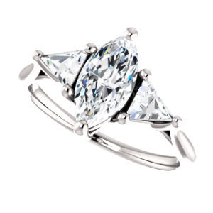 Cubic Zirconia Engagement Ring- The Prisma (Classic Three-Stone Triangle Accent and Marquise Cut center)