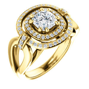 Cubic Zirconia Engagement Ring- The Kandie Lue (Customizable Cathedral-set Cushion Cut with 2x Halo and Prong Accents)