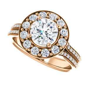 Cubic Zirconia Engagement Ring- The Yasmine (Customizable Round Cut Center with Oversized Halo Accents and Split-Pavé Band)