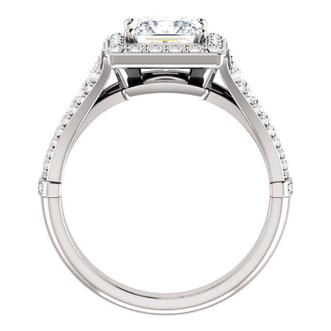 Cubic Zirconia Engagement Ring- The Frannie (Customizable Princess Cut Style with Halo and Tri-Split Pavé Band)