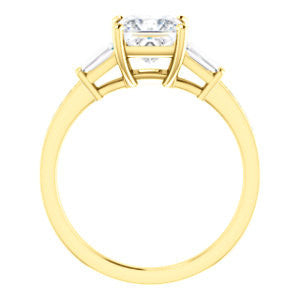 Cubic Zirconia Engagement Ring- The Bhakti (Customizable Enhanced 5-stone Princess Cut Design with Thin Pavé Band)