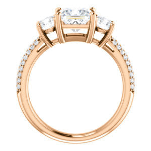 CZ Wedding Set, featuring The Zuleyma engagement ring (Customizable Enhanced 3-stone Princess Cut Design with Triple Pavé Band)