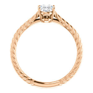 Cubic Zirconia Engagement Ring- The Florence (Customizable Cathedral-set Oval Cut Solitaire with Vintage Braided Metal Band)