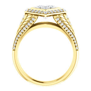 Cubic Zirconia Engagement Ring- The Mary Jane (Customizable Bezel-Halo Princess Cut Design with Wide Filigree & Accent Band)
