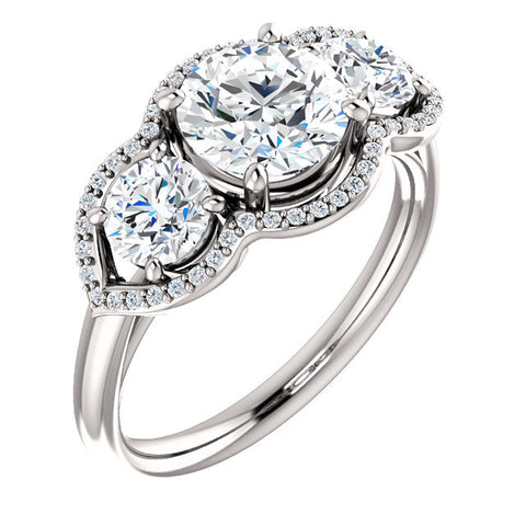 Cubic Zirconia Engagement Ring- The Camila (Customizable Round Cut Enhanced 3-stone Design with Halos)