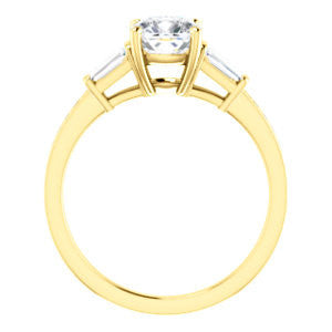 Cubic Zirconia Engagement Ring- The Bhakti (Customizable Enhanced 5-stone Cushion Cut Design with Thin Pavé Band)