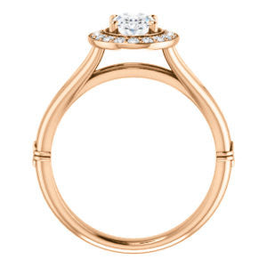 Cubic Zirconia Engagement Ring- The Madison Taylor (Customizable Oval Cut Halo Design with Split Band and Dual Round Side-Knuckle Accents)
