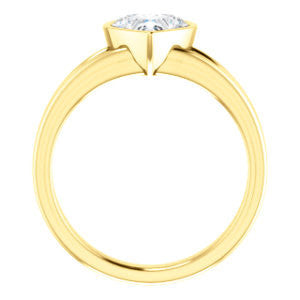 Cubic Zirconia Engagement Ring- The Bernadine (Customizable Bezel-set Heart Cut with V-Split Band)