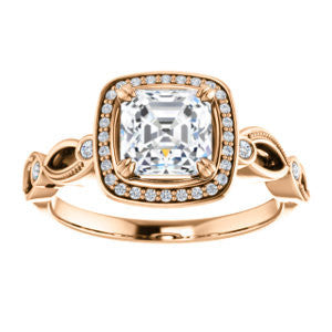 Cubic Zirconia Engagement Ring- The Angela (Customizable Whimsical Sculpture Halo-Style with Asscher Center)