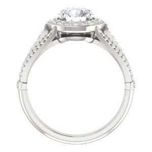 Cubic Zirconia Engagement Ring- The Frannie (Customizable Round Cut Style with Halo and Tri-Split Pavé Band)