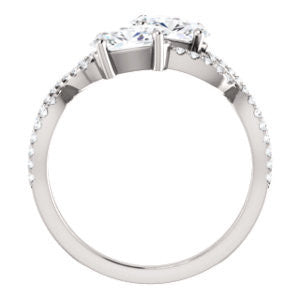 Cubic Zirconia Engagement Ring- The Harleigh (Customizable 2-stone Oval Cut Artisan Style With Twisting Split-Pavé Band)