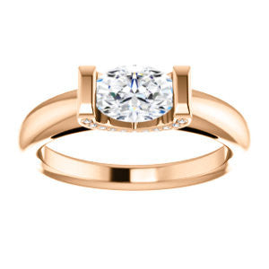 Cubic Zirconia Engagement Ring- The Tory (Customizable Cathedral-style Bar-set Oval Cut Ring with Prong Accents)