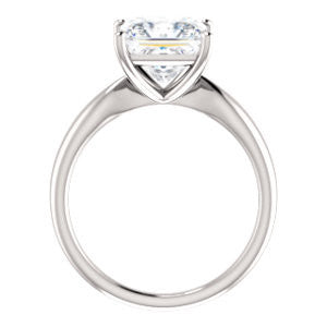 Cubic Zirconia Engagement Ring- The Nyah (Customizable Princess Cut Solitaire with Tapered Bevel Band)