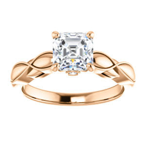 Cubic Zirconia Engagement Ring- The Jime (Customizable Cathedral-Raised Asscher Cut with Thick Infinity-Scalloped Band & Peekaboo Accents)