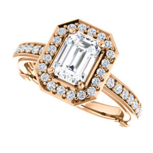 Cubic Zirconia Engagement Ring- The Sally (Customizable Halo-Emerald Cut Design with Round Side Knuckle and Pavé Band Accents)