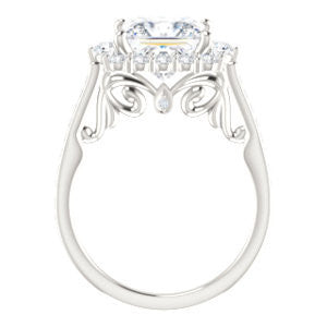 Cubic Zirconia Engagement Ring- The Oceane (Customizable Princess Cut Design with Raised Decorative-Peekaboo Trellis, Halo and Thin Pavé Band)