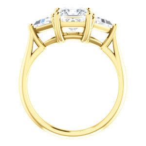 Cubic Zirconia Engagement Ring- The Prisma (Classic Three-Stone Triangle Accent and Princess Cut center)