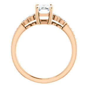 CZ Wedding Set, featuring The Eneroya engagement ring (Customizable Enhanced 5-stone Radiant Cut Design with Thin Pavé Band)