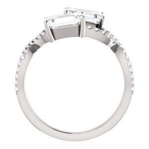 Cubic Zirconia Engagement Ring- The Harleigh (Customizable 2-stone Emerald Cut Artisan Style With Twisting Split-Pavé Band)