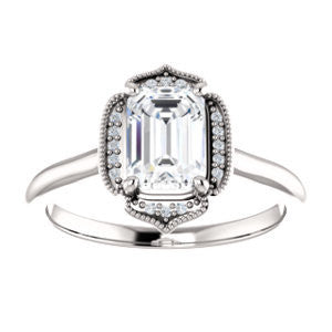 Cubic Zirconia Engagement Ring- The Charleze Isabella (Customizable Emerald Cut)