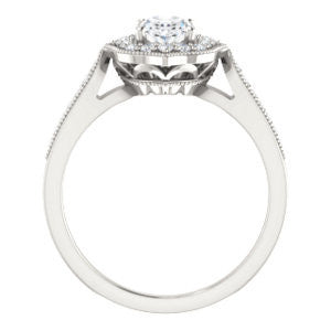 Cubic Zirconia Engagement Ring- The Faida (Customizable Cathedral-set Oval Cut Design with Halo and Milgrained Pavé Band)