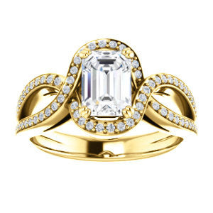 Cubic Zirconia Engagement Ring- The Goldie (Customizable Radiant Cut Center with Twisty Split-Pavé Band and Artisan Halo)
