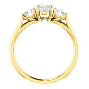 Cubic Zirconia Engagement Ring- The Estefi (Customizable Cathedral-set Oval Cut 3-stone Design with Round Accents & Split Band)