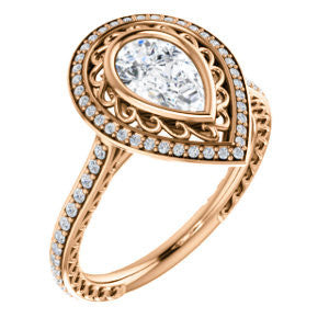 Cubic Zirconia Engagement Ring- The Sydney Ava (Customizable Cathedral-Bezel Pear Cut Filigreed Design with Halo & Pavé Accents)