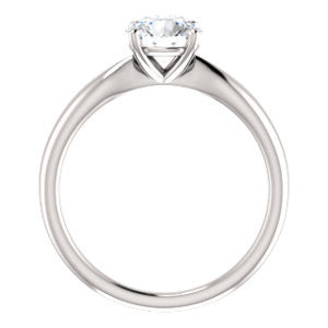 Cubic Zirconia Engagement Ring- The Nyah (Customizable Round Cut Solitaire with Tapered Bevel Band)