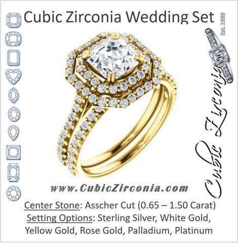 CZ Wedding Set, featuring The Alexandra engagement ring (Customizable Asscher Cut Double Halo Center with U-Pave and Pavé  Band)