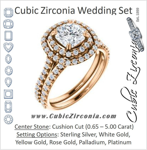 CZ Wedding Set, featuring The Alexandra engagement ring (Customizable Cushion Cut Double Halo Center with U-Pave and Pavé  Band)