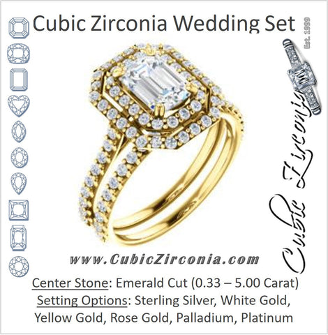 CZ Wedding Set, featuring The Alexandra engagement ring (Customizable Emerald Cut Double Halo Center with U-Pave and Pavé  Band)