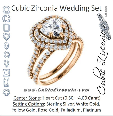 CZ Wedding Set, featuring The Alexandra engagement ring (Customizable Heart Cut Double Halo Center with U-Pave and Pavé  Band)