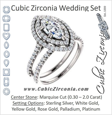 CZ Wedding Set, featuring The Alexandra engagement ring (Customizable Marquise Cut Double Halo Center with U-Pave and Pavé  Band)