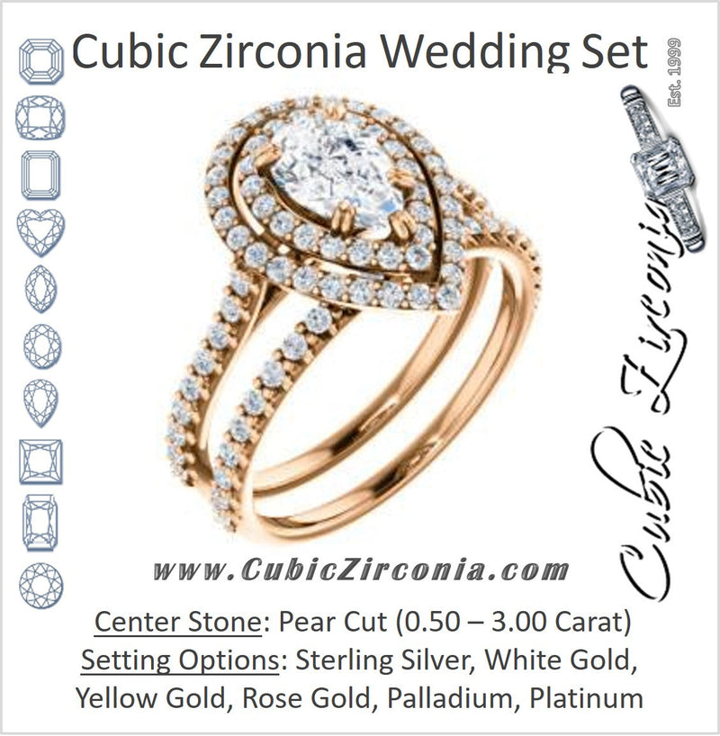 CZ Wedding Set, featuring The Alexandra engagement ring (Customizable Pear Cut Double Halo Center with U-Pave and Pavé  Band)