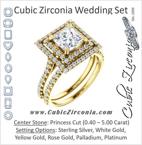 CZ Wedding Set, featuring The Alexandra engagement ring (Customizable Princess Cut Double Halo Center with U-Pave and Pavé  Band)