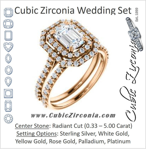 CZ Wedding Set, featuring The Alexandra engagement ring (Customizable Radiant Cut Double Halo Center with U-Pave and Pavé  Band)