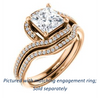 Cubic Zirconia Engagement Ring- The Annalisa (Customizable Princess Cut Bypass with Twisting Pavé Band)