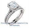 Cubic Zirconia Engagement Ring- The Bailey (Customizable Cathedral-set Emerald Cut Design with Halo, Thin Pavé Band and Floating Peekaboo)