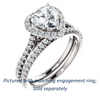 Cubic Zirconia Engagement Ring- The Bailey (Customizable Cathedral-set Heart Cut Design with Halo, Thin Pavé Band and Floating Peekaboo)