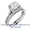Cubic Zirconia Engagement Ring- The Bailey (Customizable Cathedral-set Asscher Cut Design with Halo, Thin Pavé Band and Floating Peekaboo)