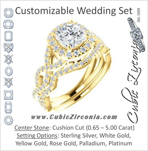 CZ Wedding Set, featuring The Benita engagement ring (Customizable Cushion Cut with Infinity Split-band Pavé and Halo)