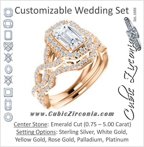 CZ Wedding Set, featuring The Benita engagement ring (Customizable Emerald Cut with Infinity Split-band Pavé and Halo)