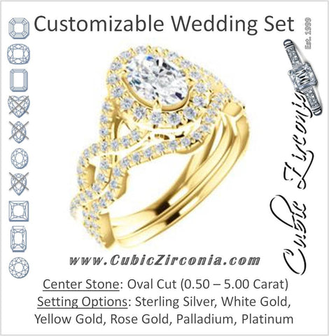 CZ Wedding Set, featuring The Benita engagement ring (Customizable Oval Cut with Infinity Split-band Pavé and Halo)
